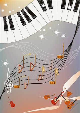 Musical pattern with piano keyboard and notes made of different musical instruments. Stock Photo - Budget Royalty-Free & Subscription, Code: 400-04840575