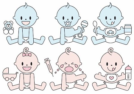 set of baby boys and girls, vector illustration Stock Photo - Budget Royalty-Free & Subscription, Code: 400-04842067