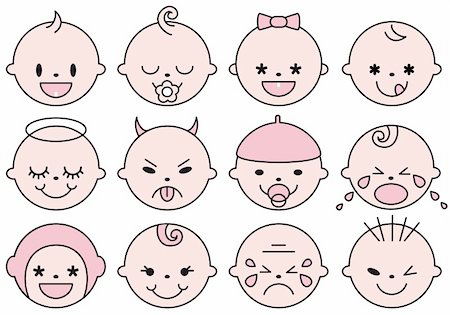 set of cute baby faces, vector illustration Stock Photo - Budget Royalty-Free & Subscription, Code: 400-04842068
