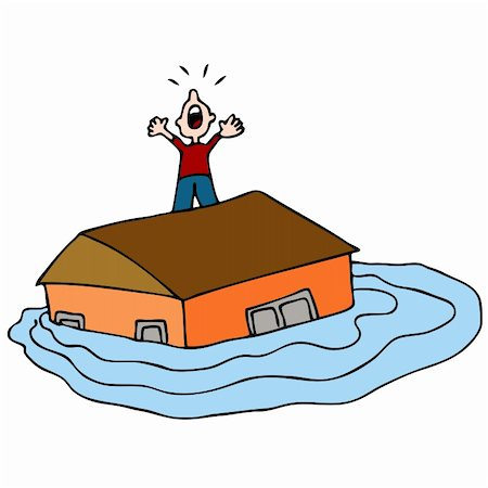 flooded homes - An image of a man on the roof of his flooded house screaming for help. Stock Photo - Budget Royalty-Free & Subscription, Code: 400-04843793