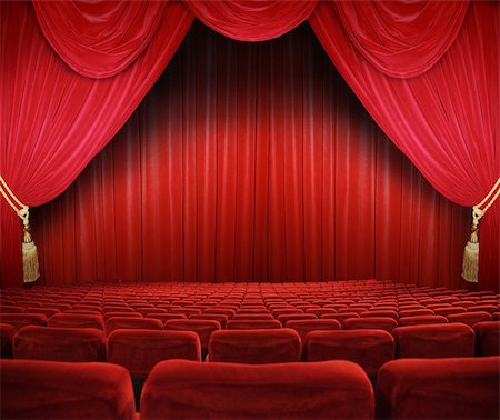 classic cinema with red seats Stock Photo - Budget Royalty-Free & Subscription, Code: 400-04854725