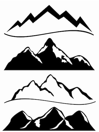 soleilc (artist) - Various mountains in black and white Stock Photo - Budget Royalty-Free & Subscription, Code: 400-04855169
