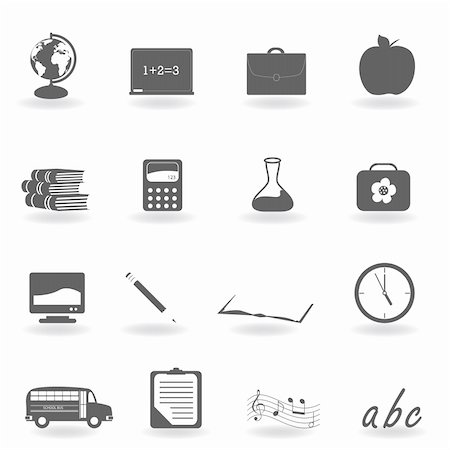 Back to school icon set Stock Photo - Budget Royalty-Free & Subscription, Code: 400-04855172