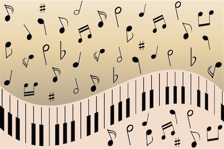Various music notes on piano Stock Photo - Budget Royalty-Free & Subscription, Code: 400-04855185