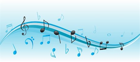 pic music note symbol - Musical notes on blue and white swirls Stock Photo - Budget Royalty-Free & Subscription, Code: 400-04855216
