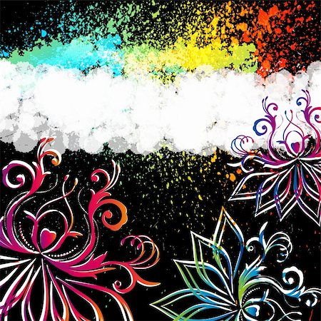Abstract floral background with oriental flowers. Stock Photo - Budget Royalty-Free & Subscription, Code: 400-04855524