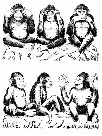 smiling chimpanzee - Black and white illustration of three monkeys acting out famous expression. See no evil, hear no evil, speak no evil. One monkey has his hands over his eyes, one over his ears, and another over his mouth. All sitting cross legged. Below are three monkeys acting out a variation of the famous expression. They are seeing  love, hearing love, speaking  love. Stock Photo - Budget Royalty-Free & Subscription, Code: 400-04855577