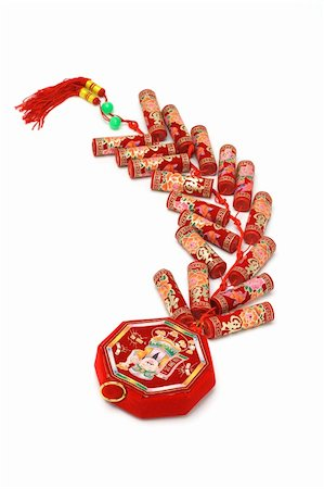 fireworks image on white background - Chinese new year fire crackers ornament on white background Stock Photo - Budget Royalty-Free & Subscription, Code: 400-04855694