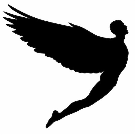 Editable vector silhouette of a man with wings flying Stock Photo - Budget Royalty-Free & Subscription, Code: 400-04855879
