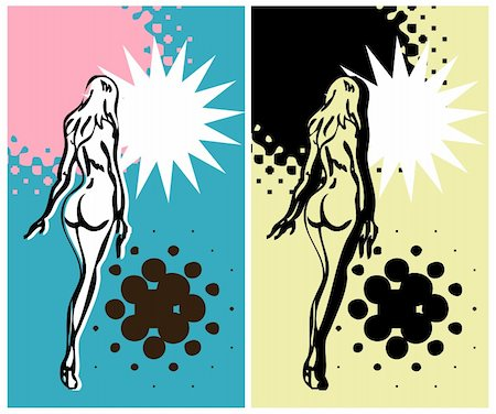Art pop nude woman banner, grunge card, retro ad blank Stock Photo - Budget Royalty-Free & Subscription, Code: 400-04856324