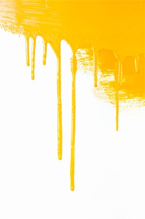 dripping splat - Orange paint  flows / isolated on white background with copy space / real photo Stock Photo - Budget Royalty-Free & Subscription, Code: 400-04857535