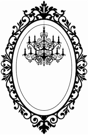Vintage, antique picture frame with baroque chandelier black silhouette, full scalable vector graphic, change the colors as you like. Stock Photo - Budget Royalty-Free & Subscription, Code: 400-04857619