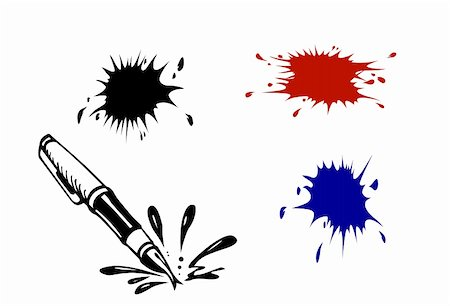 pouring ink vector - vector varicoloured inkblots on white background Stock Photo - Budget Royalty-Free & Subscription, Code: 400-04858414
