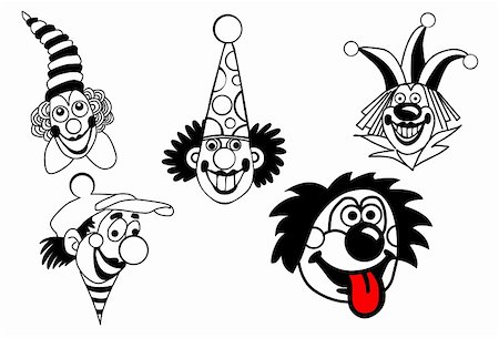 vector set clown on white background Stock Photo - Budget Royalty-Free & Subscription, Code: 400-04858443