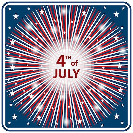 red colour background with white fireworks - American flag colors in a starburst firework effect symbolizing 4th of July independence day celebrations. Stock Photo - Budget Royalty-Free & Subscription, Code: 400-04858521