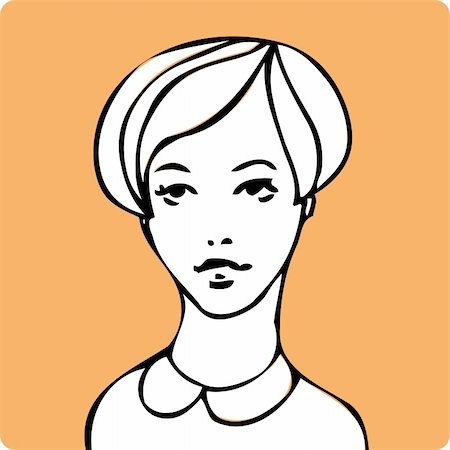 face woman beautiful clipart - Cartoon young beauty woman face one of a series of similar image Stock Photo - Budget Royalty-Free & Subscription, Code: 400-04858588