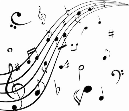 swirl graphic score - Musical notes on white background Stock Photo - Budget Royalty-Free & Subscription, Code: 400-04858997