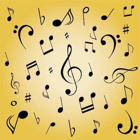 Musical notes spread on gold background Stock Photo - Budget Royalty-Free & Subscription, Code: 400-04858998