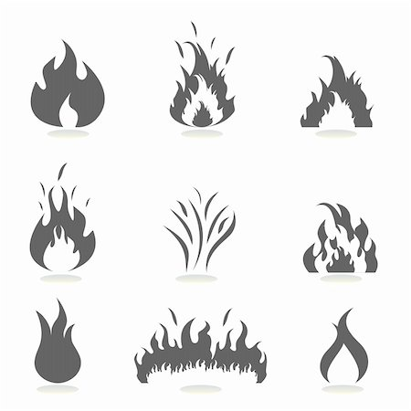 soleilc (artist) - Flame icon set in gray Stock Photo - Budget Royalty-Free & Subscription, Code: 400-04859005