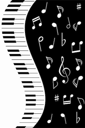 swirl graphic score - Various music notes with piano keys Stock Photo - Budget Royalty-Free & Subscription, Code: 400-04859014