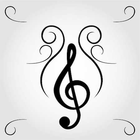Treble clef for sheet music Stock Photo - Budget Royalty-Free & Subscription, Code: 400-04859012