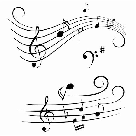 pic music note symbol - Various musical notes on stave Stock Photo - Budget Royalty-Free & Subscription, Code: 400-04859053