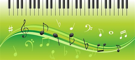 quarter note - Music notes on swirls with piano keys Stock Photo - Budget Royalty-Free & Subscription, Code: 400-04859094