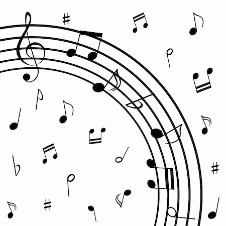 swirl graphic score - Various musical notes on stave Stock Photo - Budget Royalty-Free & Subscription, Code: 400-04859095