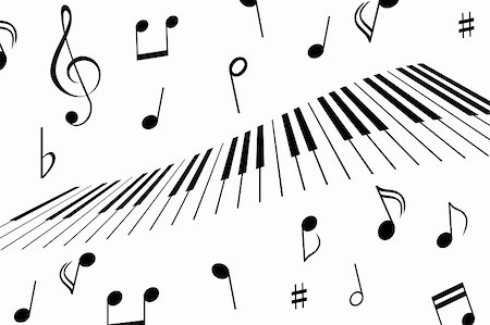 Music notes around the piano keys Stock Photo - Budget Royalty-Free & Subscription, Code: 400-04859101