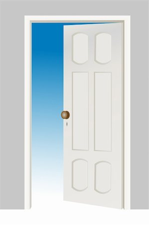 illustration of open door on white background Stock Photo - Budget Royalty-Free & Subscription, Code: 400-04859241