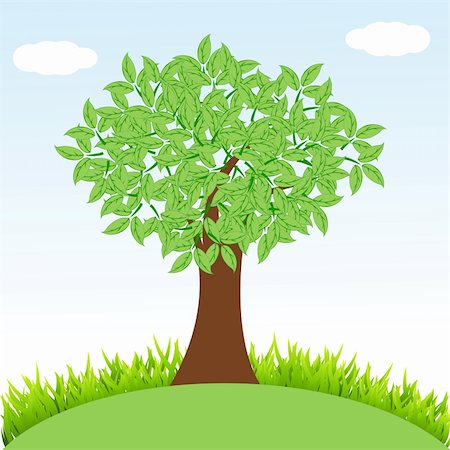 illustration of natural tree with grass Stock Photo - Budget Royalty-Free & Subscription, Code: 400-04859278