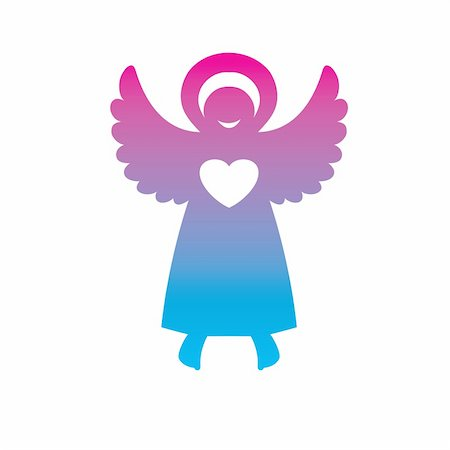 fly heart - symbol - an angel of love Stock Photo - Budget Royalty-Free & Subscription, Code: 400-04859556