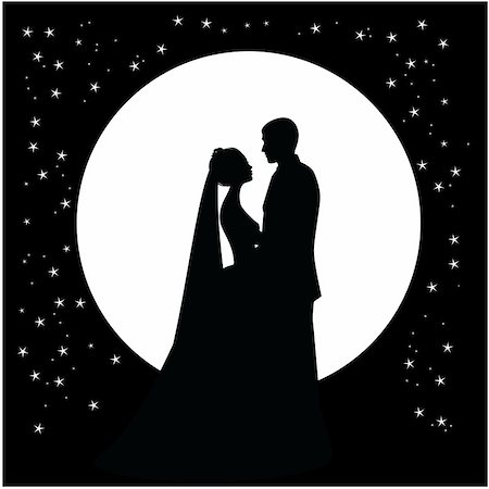 simsearch:400-04863562,k - silhouette of a dancing couple married against the backdrop of the moon and the sky Stock Photo - Budget Royalty-Free & Subscription, Code: 400-04859826