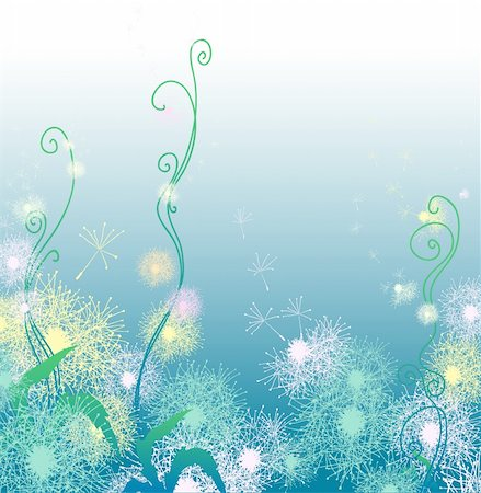 simsearch:400-04367215,k - Vector illustration of blue background with dandelions Stock Photo - Budget Royalty-Free & Subscription, Code: 400-04859905