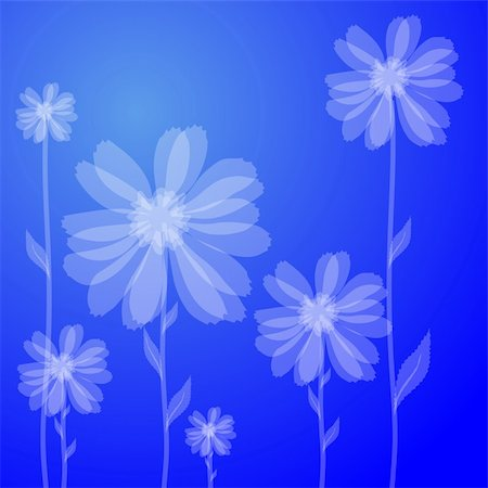 simsearch:400-04367215,k - Vector illustration of white flowers against blue background Stock Photo - Budget Royalty-Free & Subscription, Code: 400-04859908