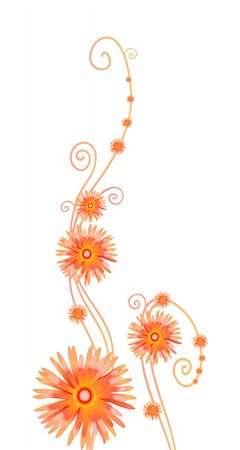 simsearch:400-04367215,k - Vector illustration of curly orange flowers isolated on white Stock Photo - Budget Royalty-Free & Subscription, Code: 400-04859909