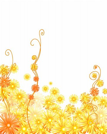 simsearch:400-04367215,k - Vector illustration of golden gerberas Stock Photo - Budget Royalty-Free & Subscription, Code: 400-04859917