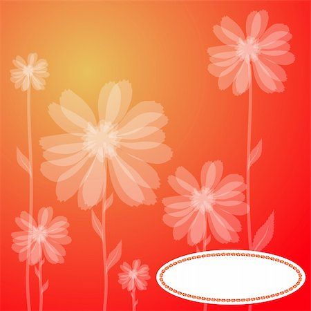 simsearch:400-04367215,k - Vector illustration of a red greeting card with transparent flowers Stock Photo - Budget Royalty-Free & Subscription, Code: 400-04859912