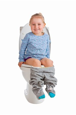 the little girl is sitting on toilet Stock Photo - Budget Royalty-Free & Subscription, Code: 400-04850392