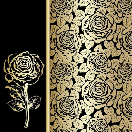 Black background with gold roses. Stock Photo - Budget Royalty-Free & Subscription, Code: 400-04852864