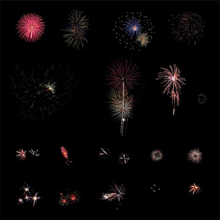 Different fireworks over a dark background Stock Photo - Budget Royalty-Free & Subscription, Code: 400-04864083
