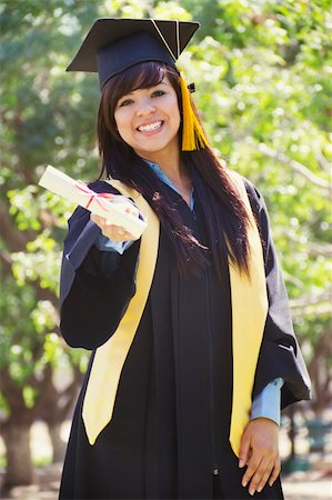 Stock image of happy female graduate, outdoor setting Stock Photo - Budget Royalty-Free & Subscription, Code: 400-04865335