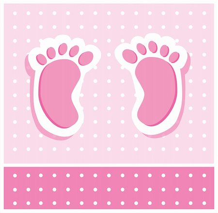 Cute pink baby girl feet footprints Stock Photo - Budget Royalty-Free & Subscription, Code: 400-04865528