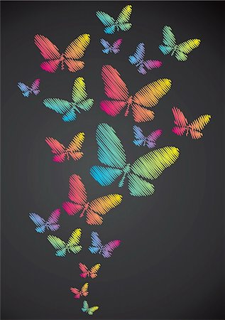 Butterflies drawn in chalk on a blackboard Stock Photo - Budget Royalty-Free & Subscription, Code: 400-04865941