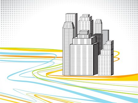 abstract colorful line wave with building vector illustration Stock Photo - Budget Royalty-Free & Subscription, Code: 400-04866493