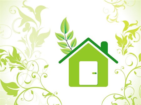 abstract eco green home icon vector illustration Stock Photo - Budget Royalty-Free & Subscription, Code: 400-04866501