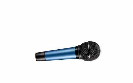 blue microphone with black wire isolated on white Stock Photo - Budget Royalty-Free & Subscription, Code: 400-04867557
