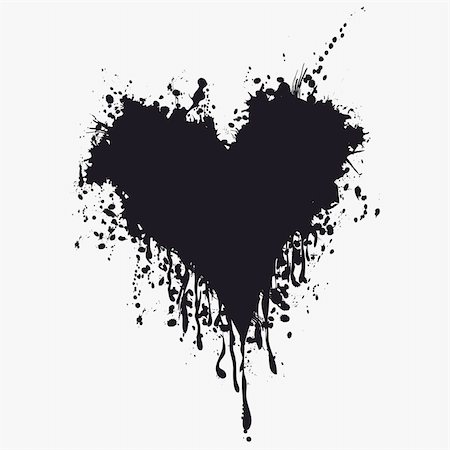 Grunge heart ink blood vector. Love splash splatter illustration. Stock Photo - Budget Royalty-Free & Subscription, Code: 400-04867955