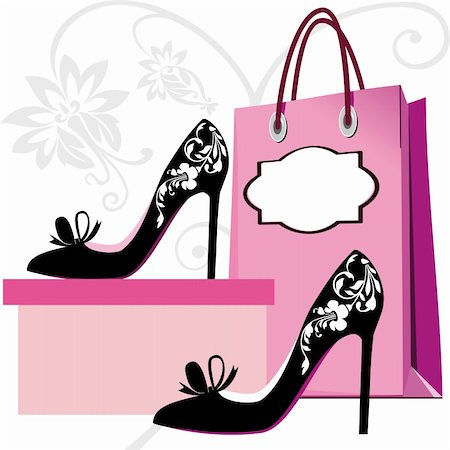 elakwasniewski (artist) - Silhouettes of women shoes and shopping bag with floral ornaments Stock Photo - Budget Royalty-Free & Subscription, Code: 400-04868018