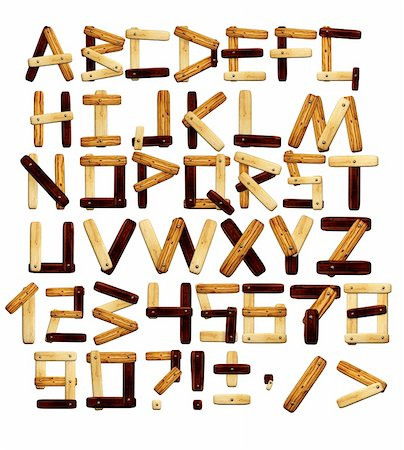 Alphabet - letters from wooden boards. Isolated over white Stock Photo - Budget Royalty-Free & Subscription, Code: 400-04868146
